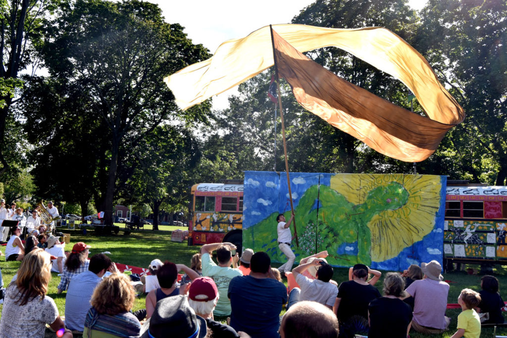 "Bread and Puppet Theater performs its ""Diagonal Life Circus"" at Cambridge Common, Aug. 31, 2019. (Greg Cook)"