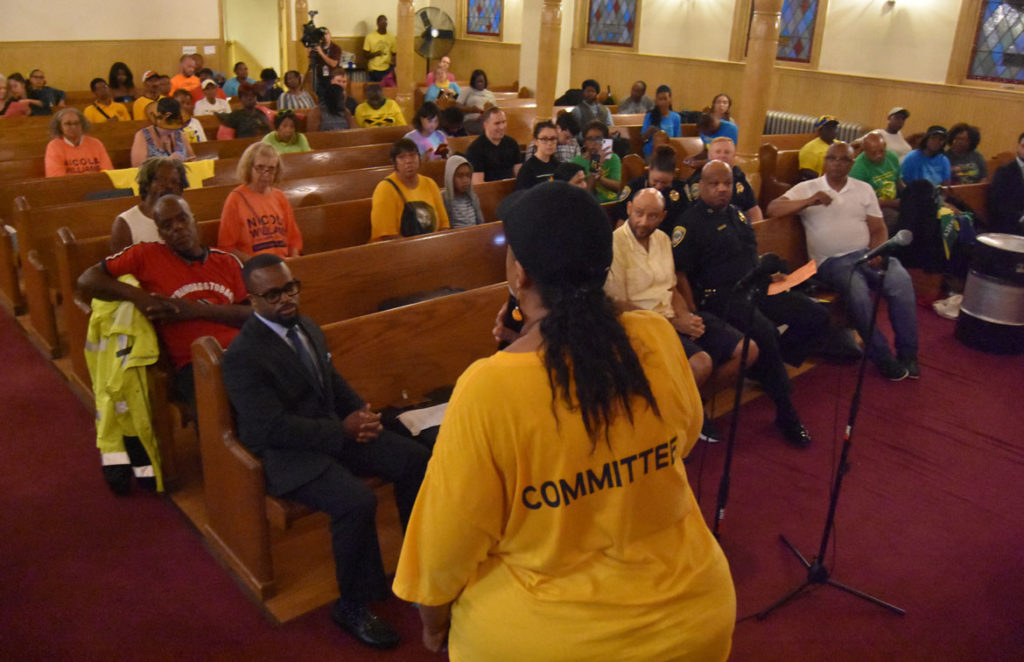Cambridge Carnival President Nicola A. Williams speaks at a community forum at Cambridge's Union Baptist Church responds to the cancellation of the 2019 Carnival. Sept. 4, 2019. (Greg Cook)