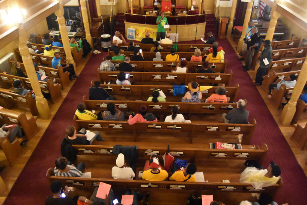 A community forum at Cambridge's Union Baptist Church responds to the cancellation of the 2019 Carnival. Sept. 4, 2019. (Greg Cook)