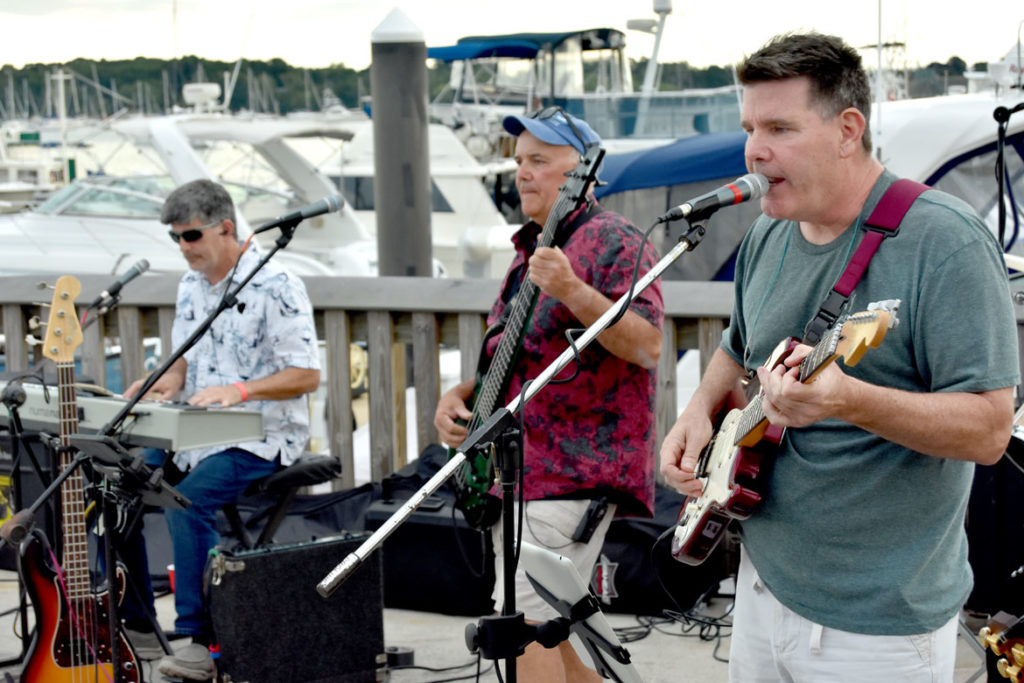 Oldies cover band plays at Beverly Harborfest/Crossing Water Festival at Glover Wharf Municipal Marina, Beverly, Massachusetts, Sept. 7, 2019. (Greg Cook)