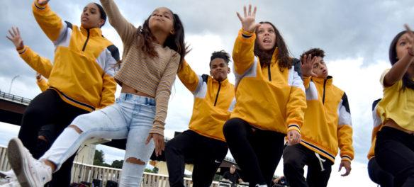 Fly Kids dance at the Crossing Water Festival, Remond Park, Salem, Massachusetts, Sept. 7, 2019. (Greg Cook)