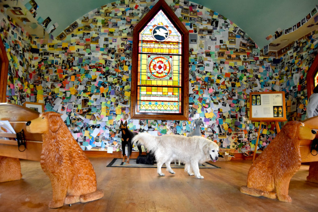 Visitor at Stephen Huneck's Dog Chapel, St. Johnsbury, Vermont, during a Dog Party on June 23, 2018. (Greg Cook)