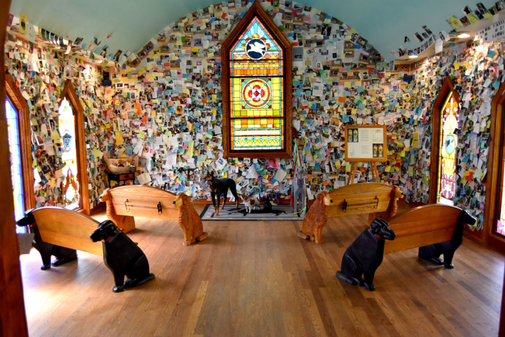Stephen Huneck's Dog Chapel, St. Johnsbury, Vermont, Aug. 26, 2019. (Greg Cook)