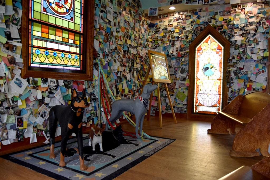 Stephen Huneck's Dog Chapel, St. Johnsbury, Vermont, Aug. 26, 2019. (Greg Cook)
