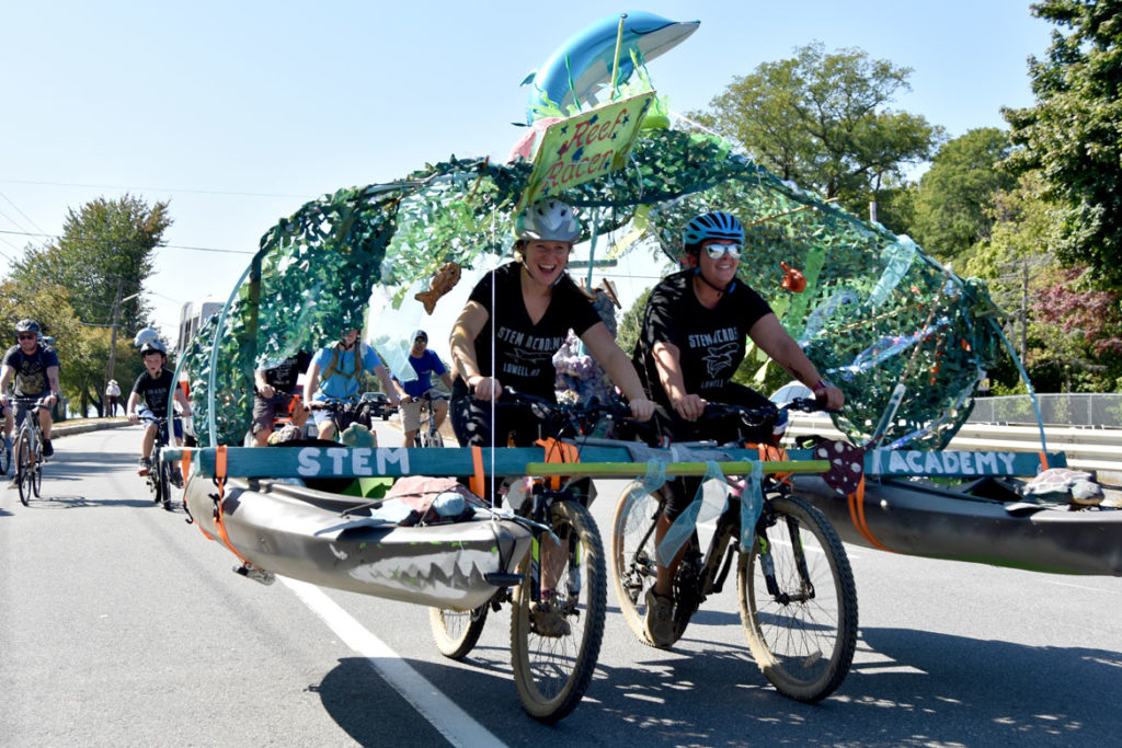 Pedaling along the VFW Highway during the Lowell Kinetic Sculpture Race, Sept. 21, 2019. (Greg Cook photo)