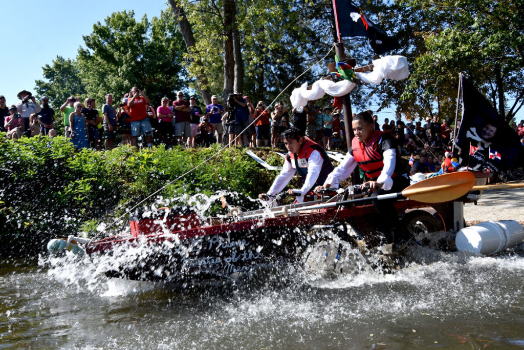 Splashing into the Merrimack River during the Lowell Kinetic Sculpture Race, Sept. 21, 2019. (Greg Cook photo)