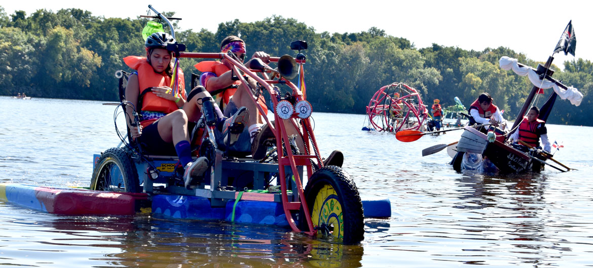 The Lowell Kinetic Sculpture Race course includes 100 yards of the Merrimack River, Sept. 21, 2019. (Greg Cook photo)