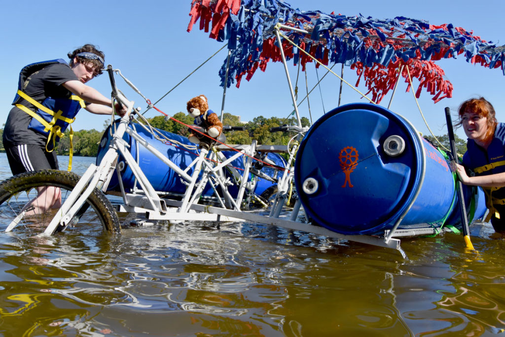 Floating along the Merrimack River during the Lowell Kinetic Sculpture Race, Sept. 21, 2019. (Greg Cook photo)