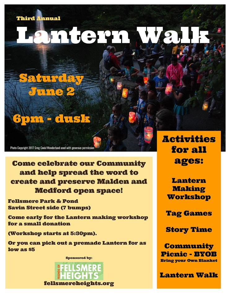 Poster for 2018 Lantern Walk at Fellsmere Pond, Malden, featuring photo by Greg Cook.