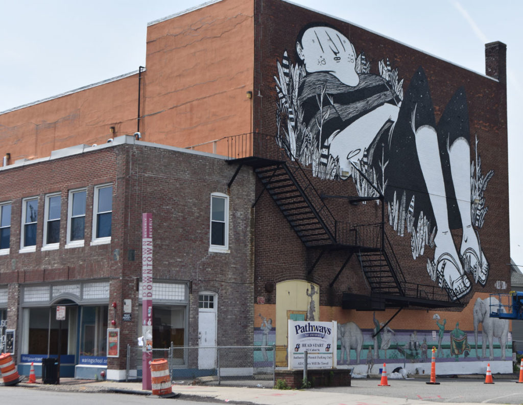 Alex Senna's mural on the Cabot Theatre, Beverly, Massachusetts, July 20, 2019. (Greg Cook)