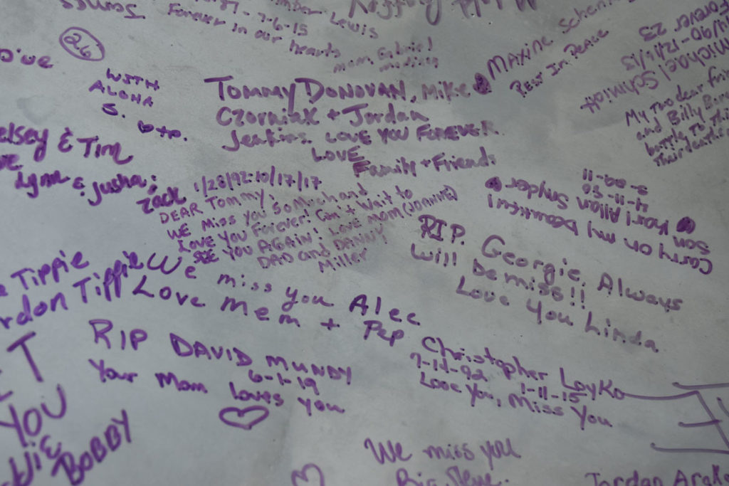 Remembrances written on Domenic Esposito's Opioid Spoon,on view at the Cambridge Public Library, Sept. 16, 2019. (Greg Cook)