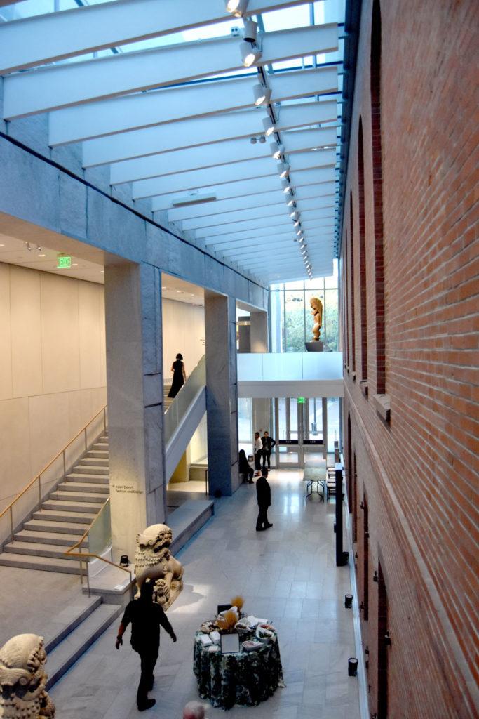 Atrium in the Peabody Essex Museum's new wing, Salem, Sept. 25, 2019. (Greg Cook photo)