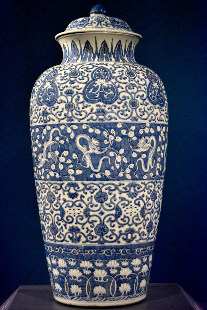 Augustus the Strong's porcelain vase made by artists in Jingdezhen, China, between 1710 and 1715. In the Asian Export Art galleries at the Peabody Essex Museum's new wing, Salem, Sept. 25, 2019. (Greg Cook photo)