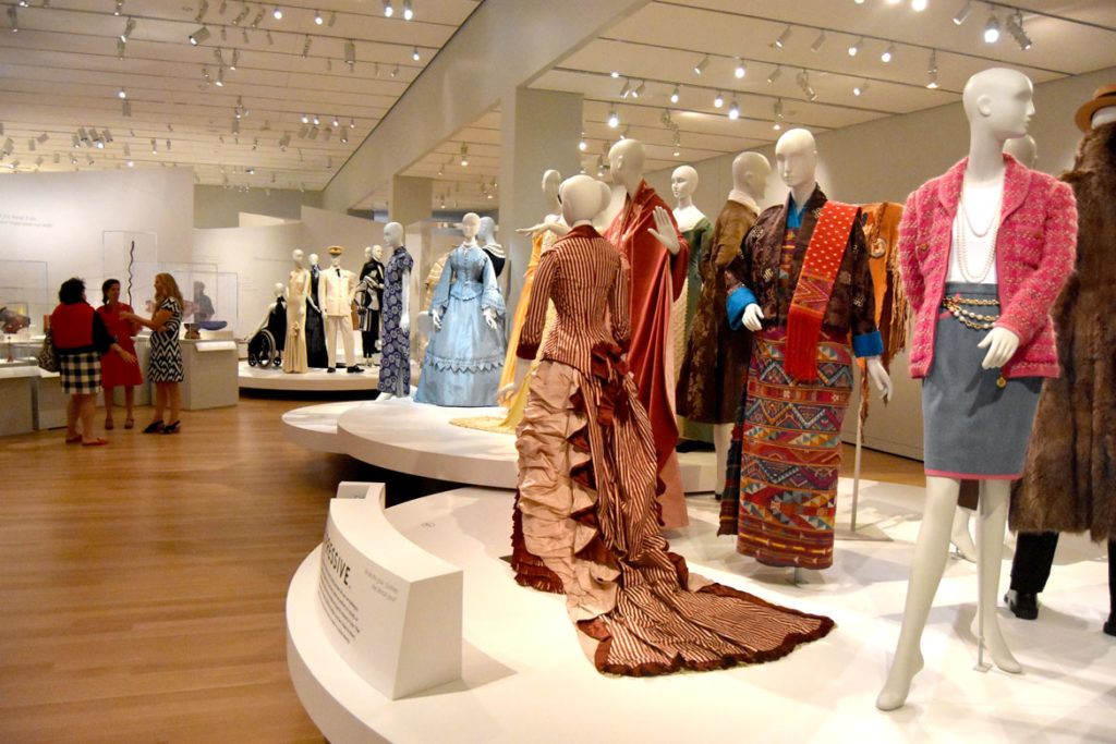 Fashion galleries in the Peabody Essex Museum's new wing, Salem, Sept. 25, 2019. (Greg Cook)