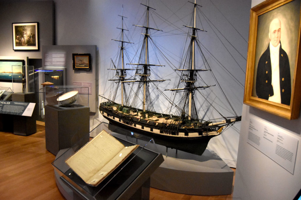 Maritime galleries in the Peabody Essex Museum's new wing, Salem, Sept. 25, 2019. (Greg Cook photo)