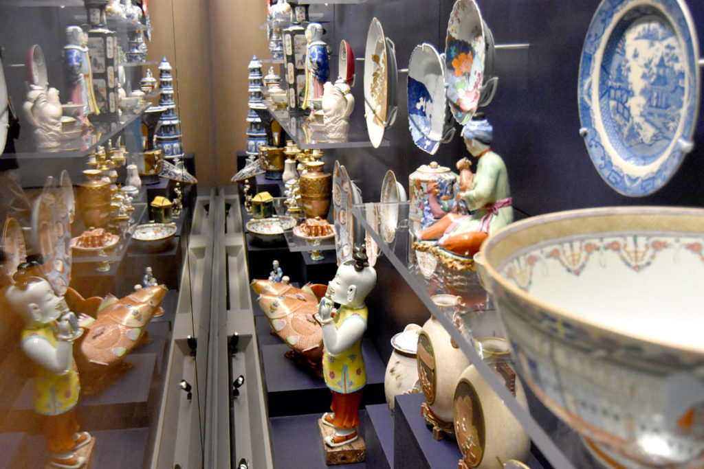 Porcelain in the Asian Export Art galleries in Peabody Essex Museum's new wing, Salem, Sept. 25, 2019. (Greg Cook photo)