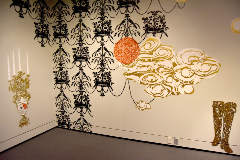 """Savannah artist Vanessa Platacis's stenciled mural """"Taking Place"""" in the Peabody Essex Museum's new wing, Salem, Sept. 25, 2019. (Greg Cook photo)"""