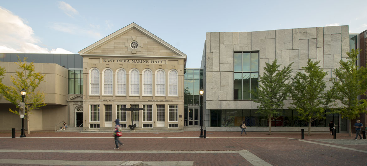 The Peabody Essex Museum's new wing (at right) designed by the New York firm Ennead Architects sits beside the East India Marine Hall on Salem's Essex Street. (Courtesy photo)