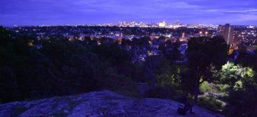 Sunset, Storytelling and Stargazing atop Waitt's Mount, Malden, Massachusetts, Sept. 7, 2019. (Greg Cook)