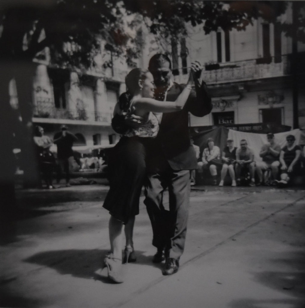 "Philip Arnold, ""Tango in Plaza Dorrego."" In the Somerville Toy Camera Festival exhibition at Nave Gallery, Sept. 13, 2019."