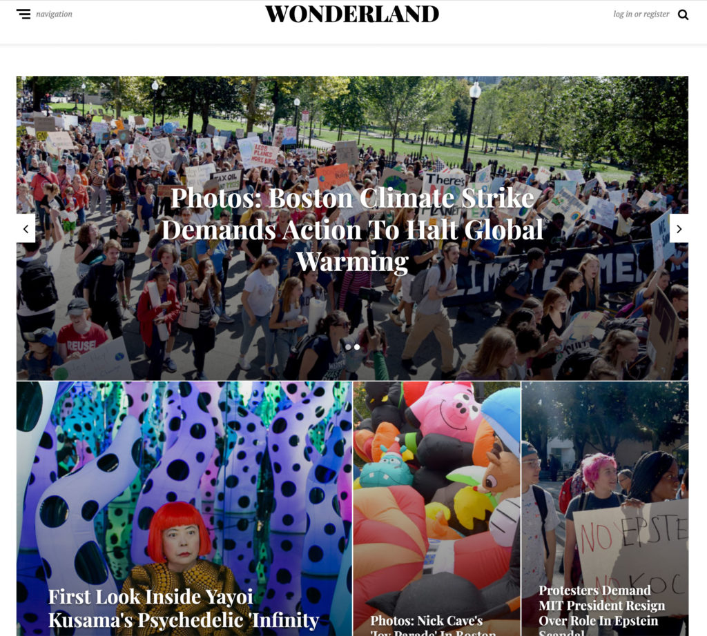 Cover of Wonderland, Greg Cook's online magazine, Sept. 22, 2019.