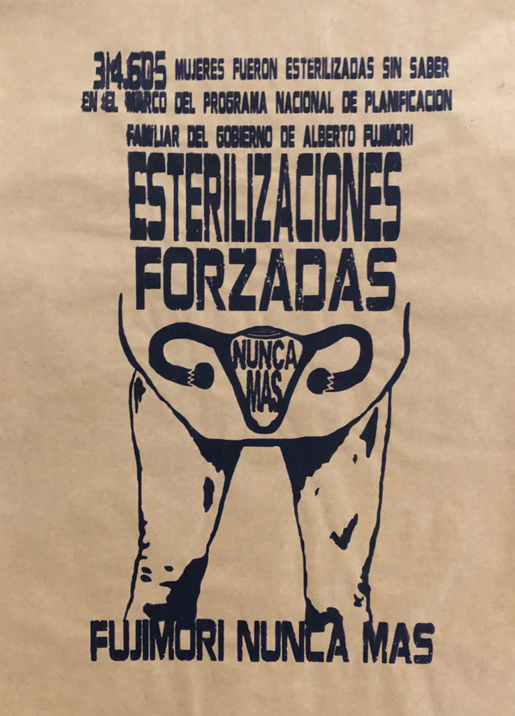 "Amapolay's 2017 screenprint reads: ""314,605 mujeres fueron esterilizadas sin saber... (314,605 women were sterilized without their knowledge...)."""