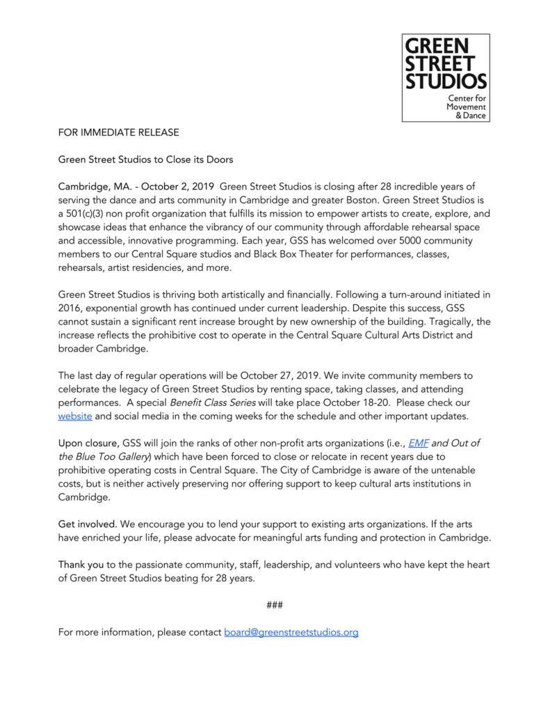 Green Street Studios announces plans to close, Oct. 2, 2019.
