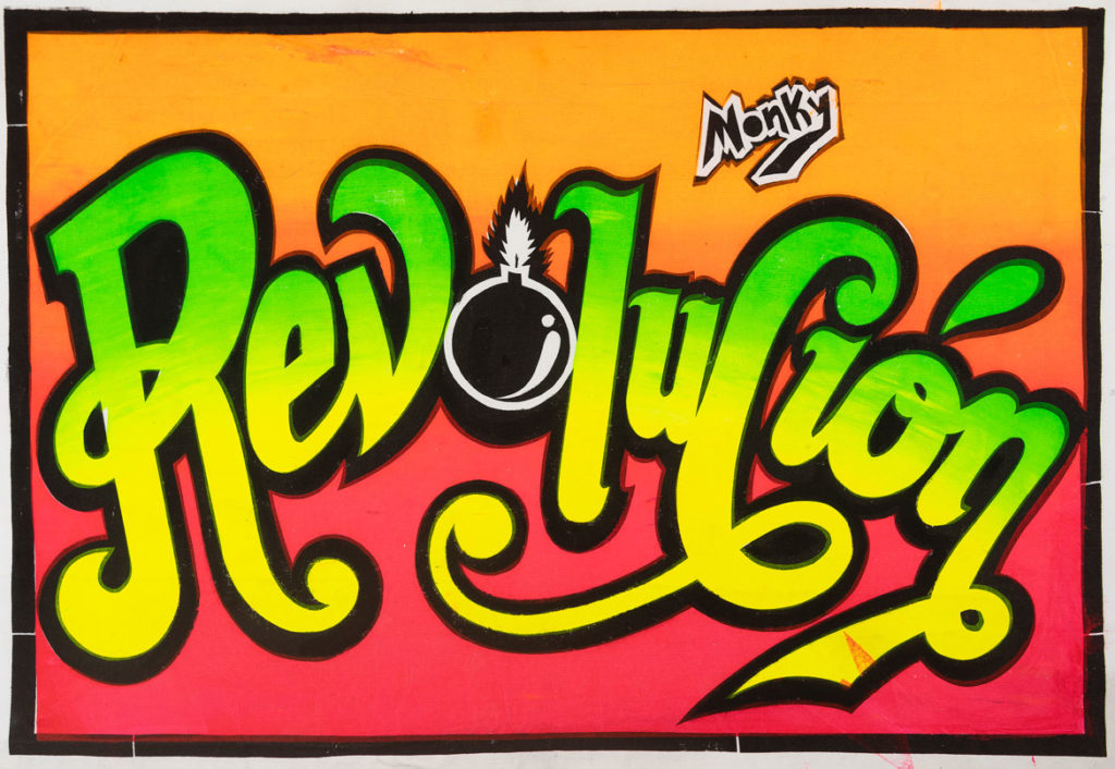 "Pedro ""Monky"" Rojas Mesa, ""Revolución,"" 2019 screenprint."
