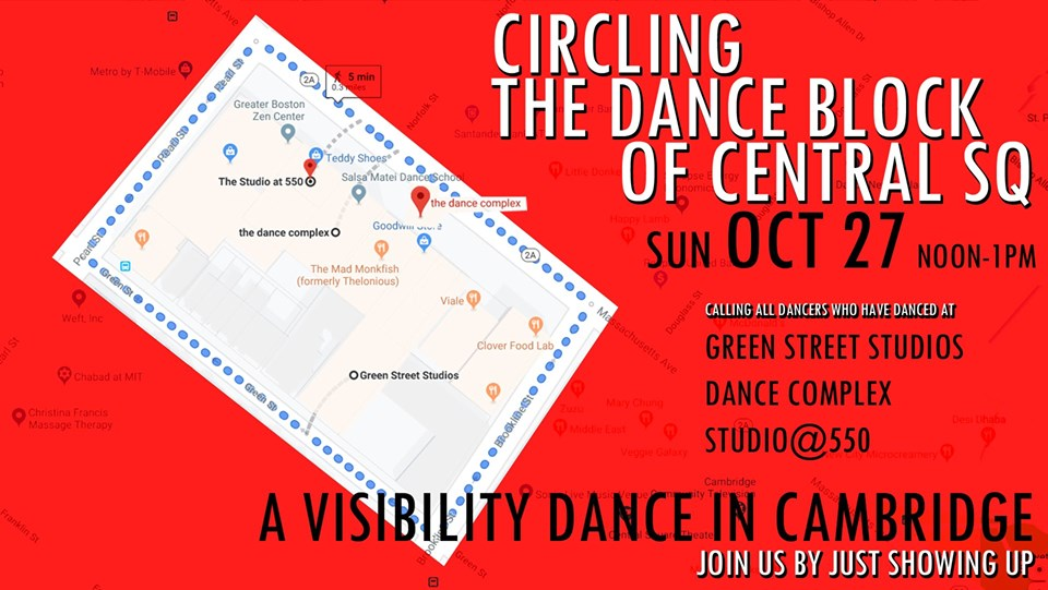 """Circling the Dance Block - a Visibility Dance in Cambridge"" planned for noon on Sunday, Oct. 27, 2019."