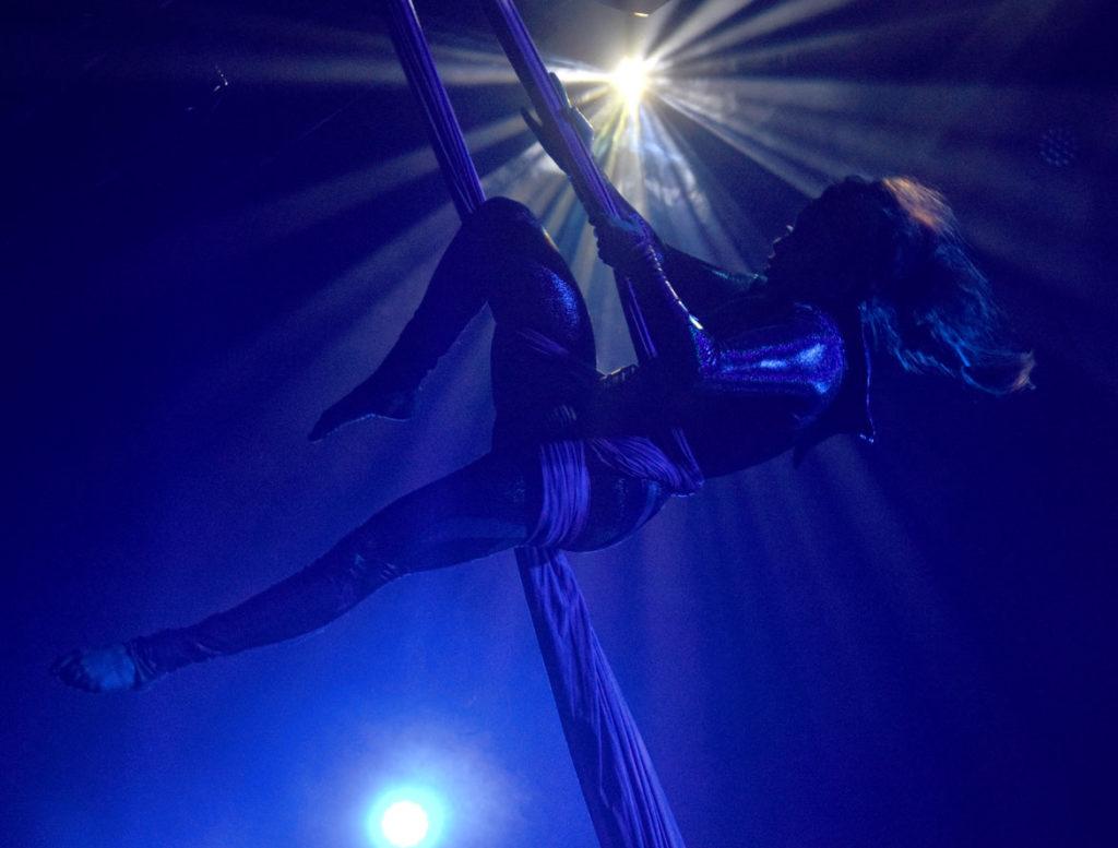 """Boston Circus Guild rehearses """"Cirque of the Dead"""" at Oberon, Cambridge, Oct. 16, 2019. (Greg Cook photo)"""