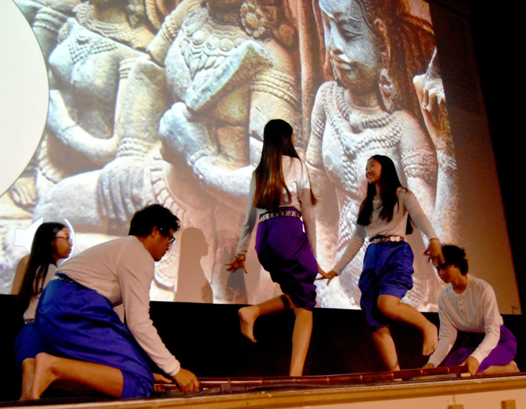Generation Khmer, a Cambodian dance group from Lynn, performs at the Essex County Community Foundation's second annual Essex County Arts & Culture Summit at the Cabot theater, Beverly, Sept. 27, 2019. (Greg Cook photo)