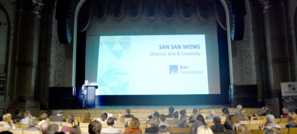 San San Wong of the Bar Foundation speaks at the Essex County Community Foundation's second annual Essex County Arts & Culture Summit at the Cabot theater, Beverly, Sept. 27, 2019. (Greg Cook photo)