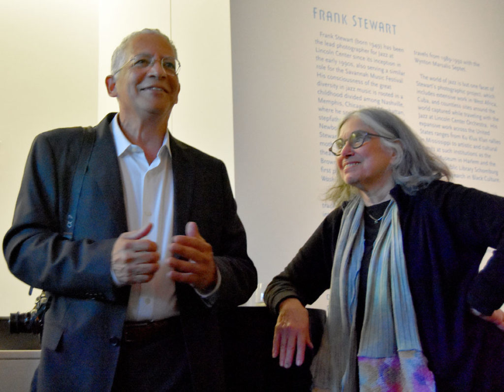"Frank Stewart (left) with curator Ruth Fine at the opening reception for ""The Sound of My Soul: Frank Stewart's Life in Jazz"" at Harvard University's Cooper Gallery of African & African American Art, Sept. 16, 2019. (Greg Cook photo)"