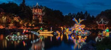"""""""Gardens of Light"""" illuminates the Chinese Garden at the Jardin Botanique de Montréal, September 2019. (© Espace pour la vie / Claude Lafond)"""