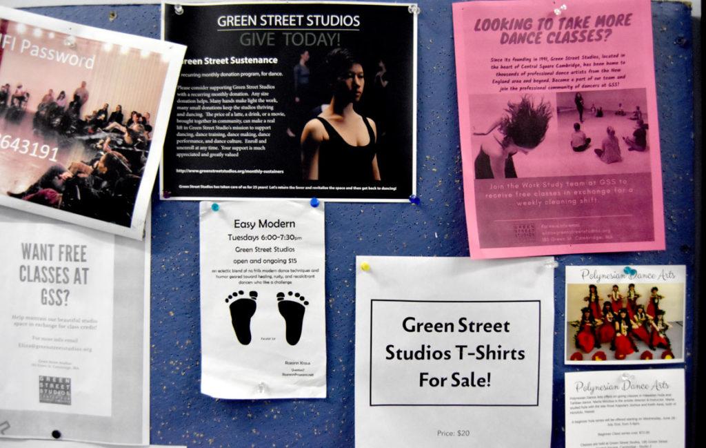Green Street Studios bulletin board, Cambridge, Oct. 2, 2019. (Greg Cook)