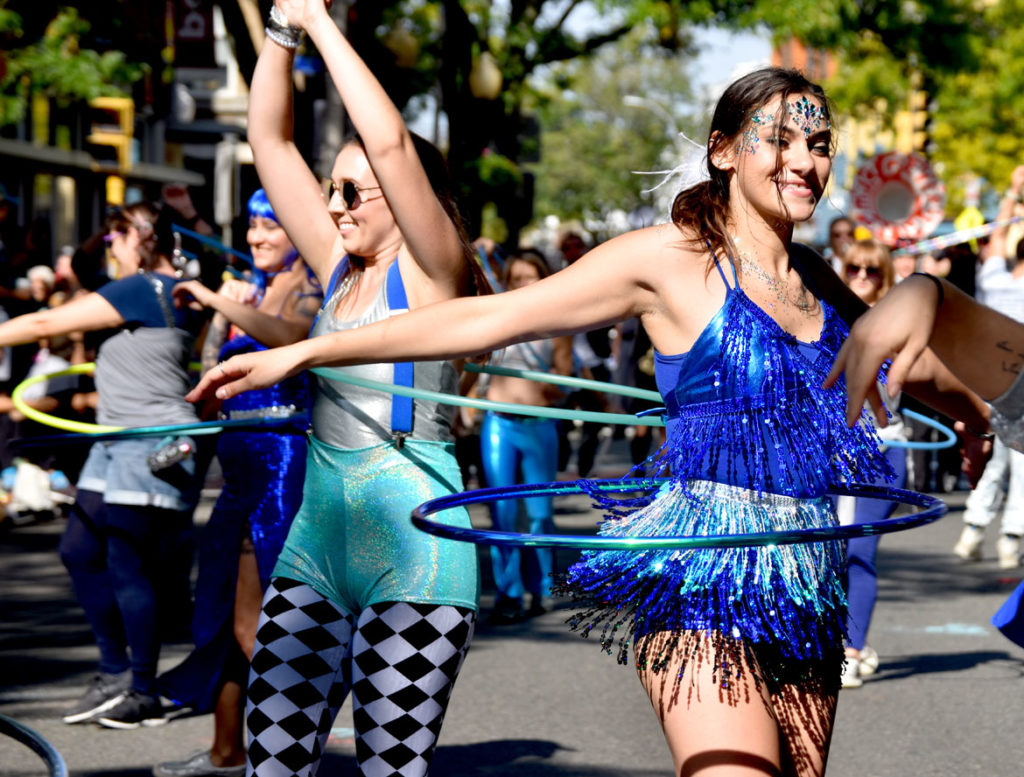 Boston Hoop Troop in the Honk Parade, Oct. 13, 2019. (Greg Cook photo)