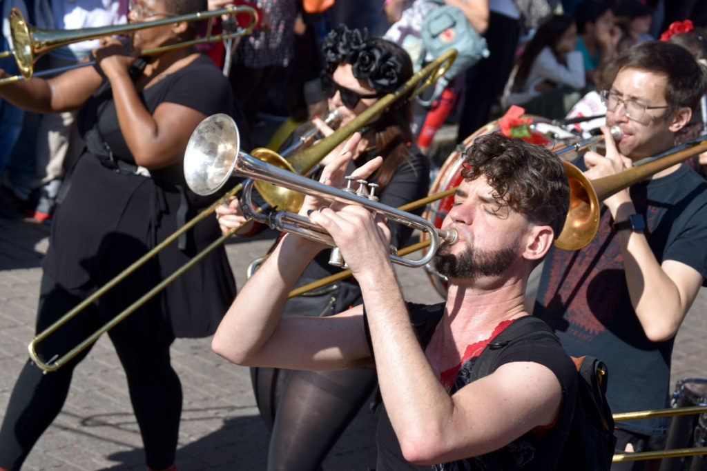 What Cheer? Brigade from Providence performs in the Honk Parade, Oct. 13, 2019. (Greg Cook photo)