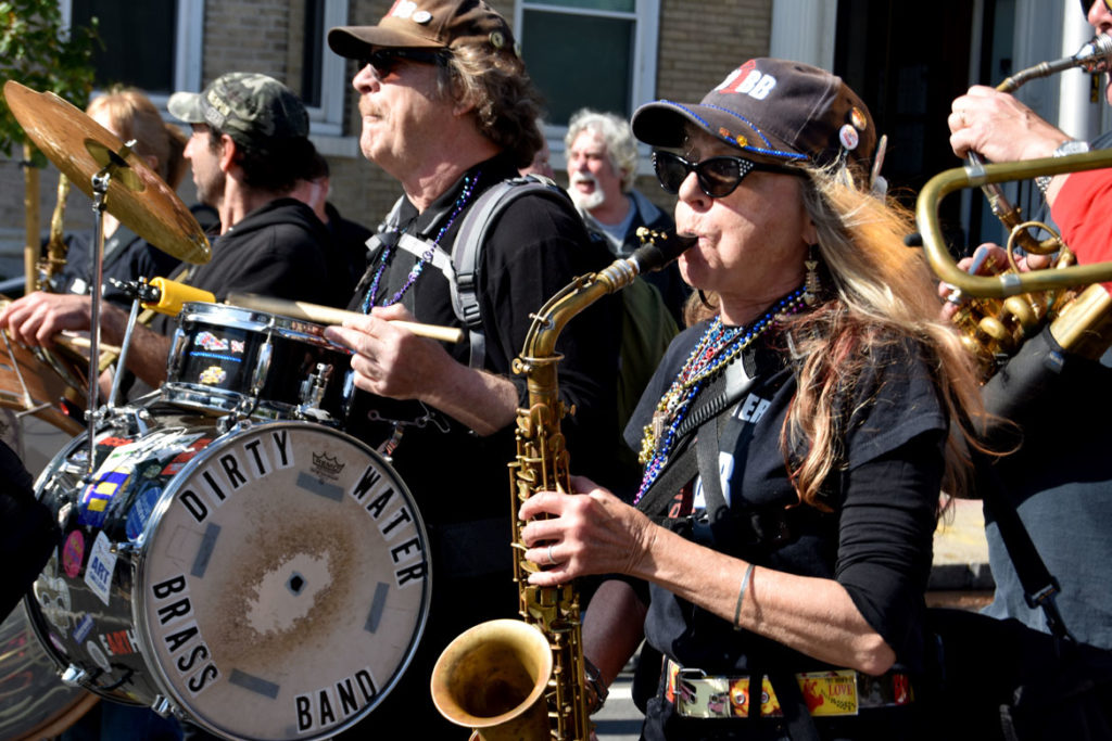 Boston's Dirty Water Brass Band performs in the Honk Parade, Oct. 13, 2019. (Greg Cook photo)