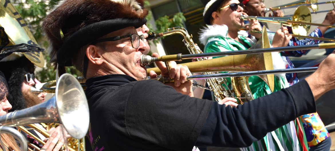 Environmental Encroachment from Chicago performs in the Honk Parade, Oct. 13, 2019. (Greg Cook photo)