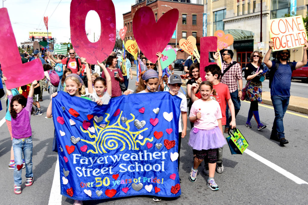 Fayerweather Street School marches in the Honk Parade, Oct. 13, 2019. (Greg Cook photo)