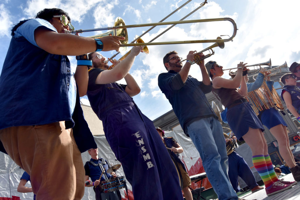 Emperor Norton's Stationary Marching Band from Somerville plays on the main stage at Harvard Square, Cambridge, during the Honk Festival, Oct. 13, 2019. (Greg Cook photo)