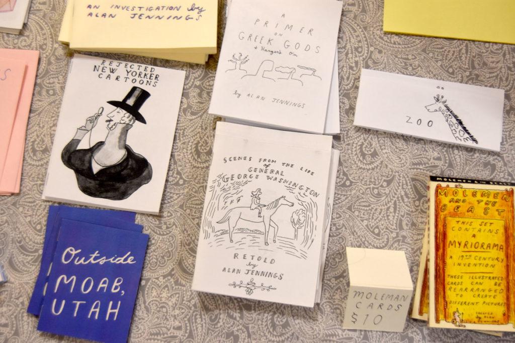 Comics by Boston-area artist Alan Jennings at MICE (Massachusetts Independent Comics Expo) at Lesley University, Oct. 19, 2019. (Greg Cook photo)