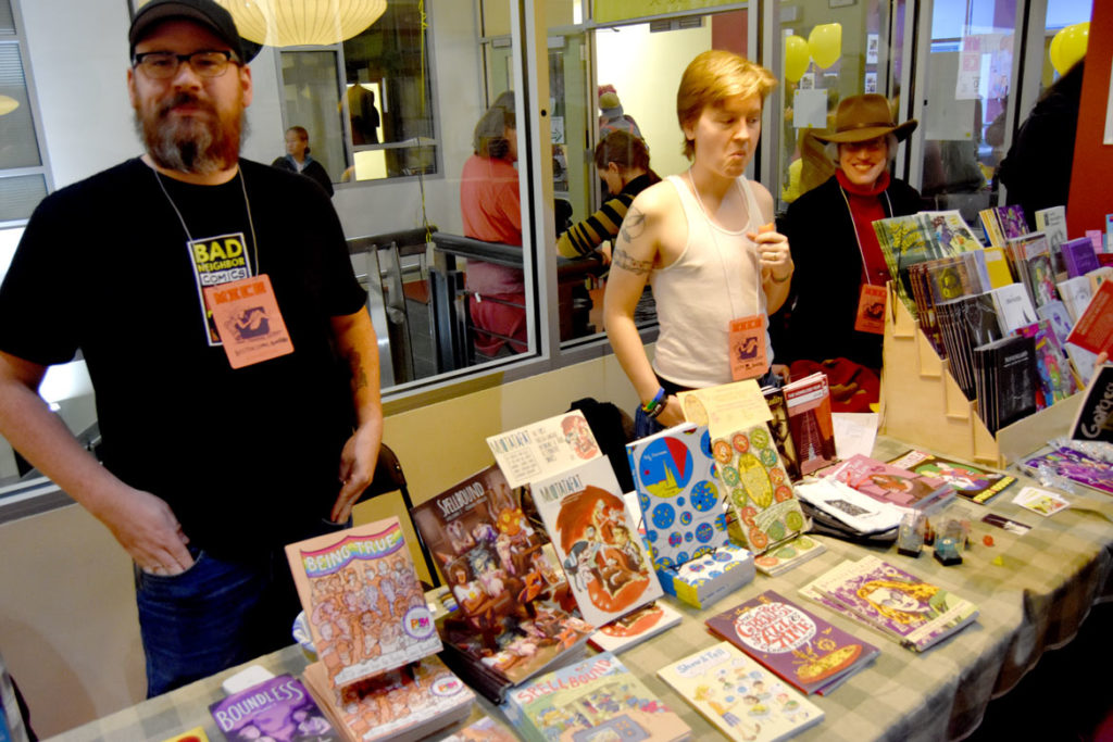 Members of the Boston Comics Roundtable at MICE (Massachusetts Independent Comics Expo) at Lesley University, Oct. 19, 2019. (Greg Cook photo)