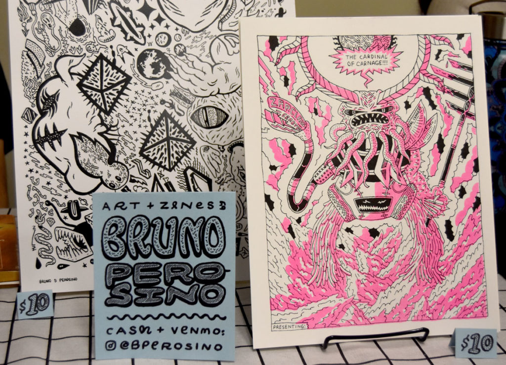 Art by Bruno Perosino of Cambridge at MICE (Massachusetts Independent Comics Expo) at Lesley University, Oct. 19, 2019. (Greg Cook photo)