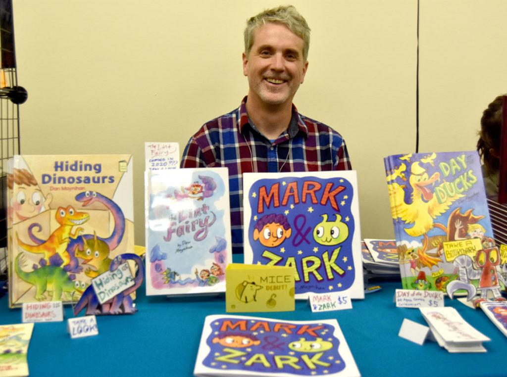 Dan Moynihan of Boston at MICE (Massachusetts Independent Comics Expo) at Lesley University, Oct. 19, 2019. (Greg Cook photo)
