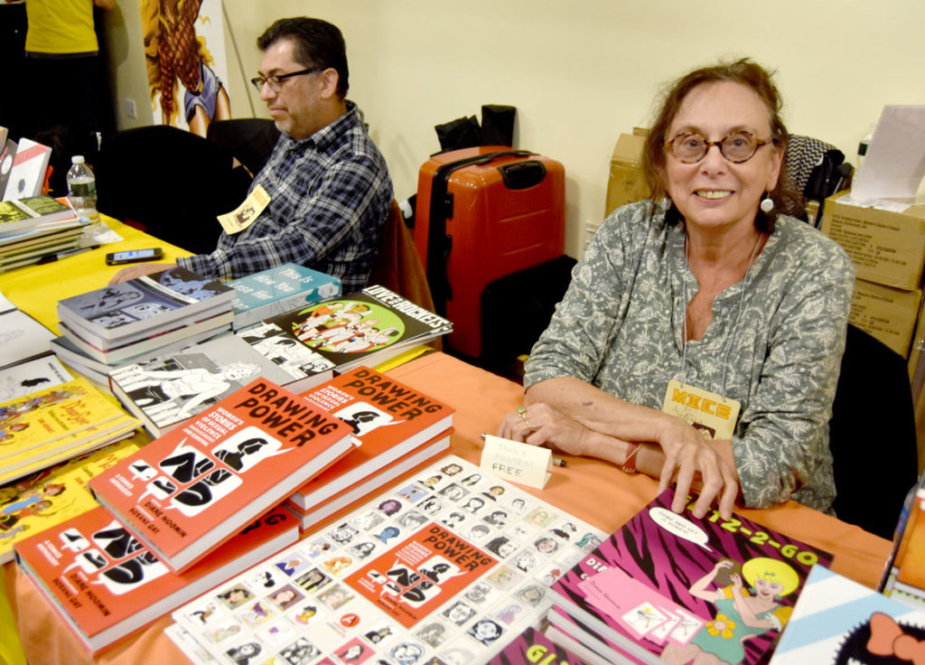 Legendary New York feminist artist and editor Diane Noomin at MICE (Massachusetts Independent Comics Expo) at Lesley University, Oct. 19, 2019. (Greg Cook photo)