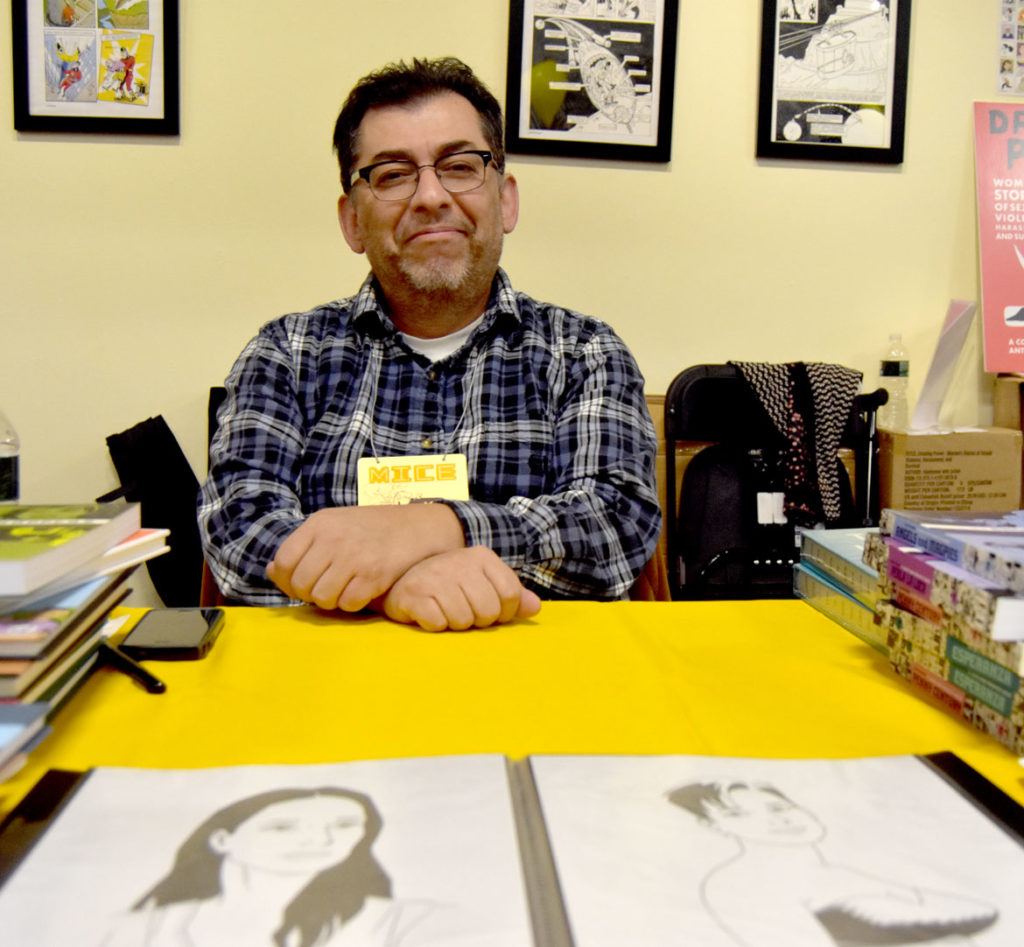 """Love and Rockets"" cartoonist Jaime Hernandez of Altadena, California, at MICE (Massachusetts Independent Comics Expo) at Lesley University, Oct. 19, 2019. (Greg Cook photo)"