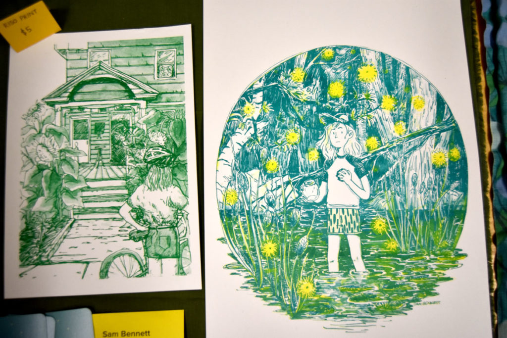 Art by Sam Bennett of Boston at MICE (Massachusetts Independent Comics Expo) at Lesley University, Oct. 19, 2019. (Greg Cook photo)