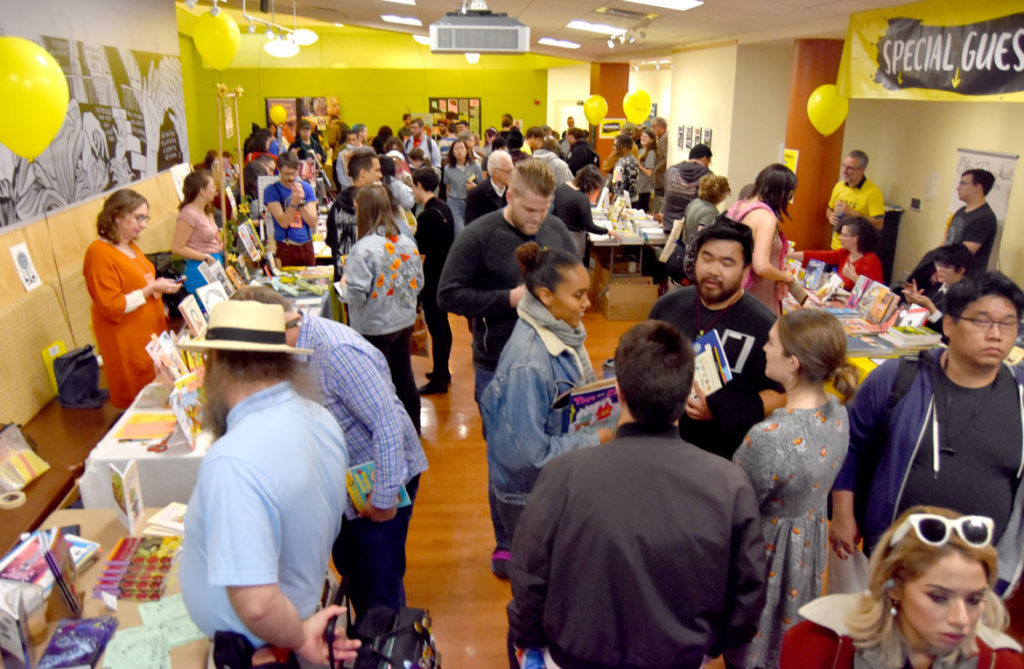 MICE (Massachusetts Independent Comics Expo) at Lesley University, Oct. 19, 2019. (Greg Cook photo)
