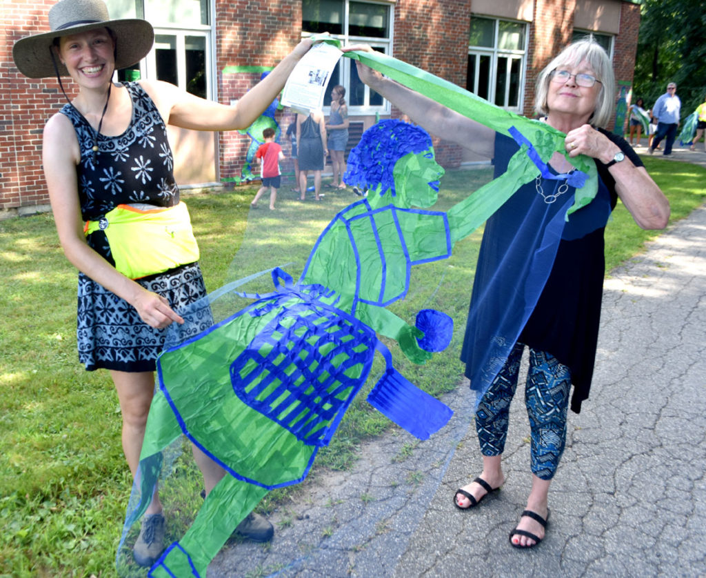 """Pageant Picnic Day"" from ""Drawing From Our Past: A Tri-Town Tape Art Festival"" at Pentucket Regional Middle School in West Newbury, July 27, 2019. (Greg Cook photo)"